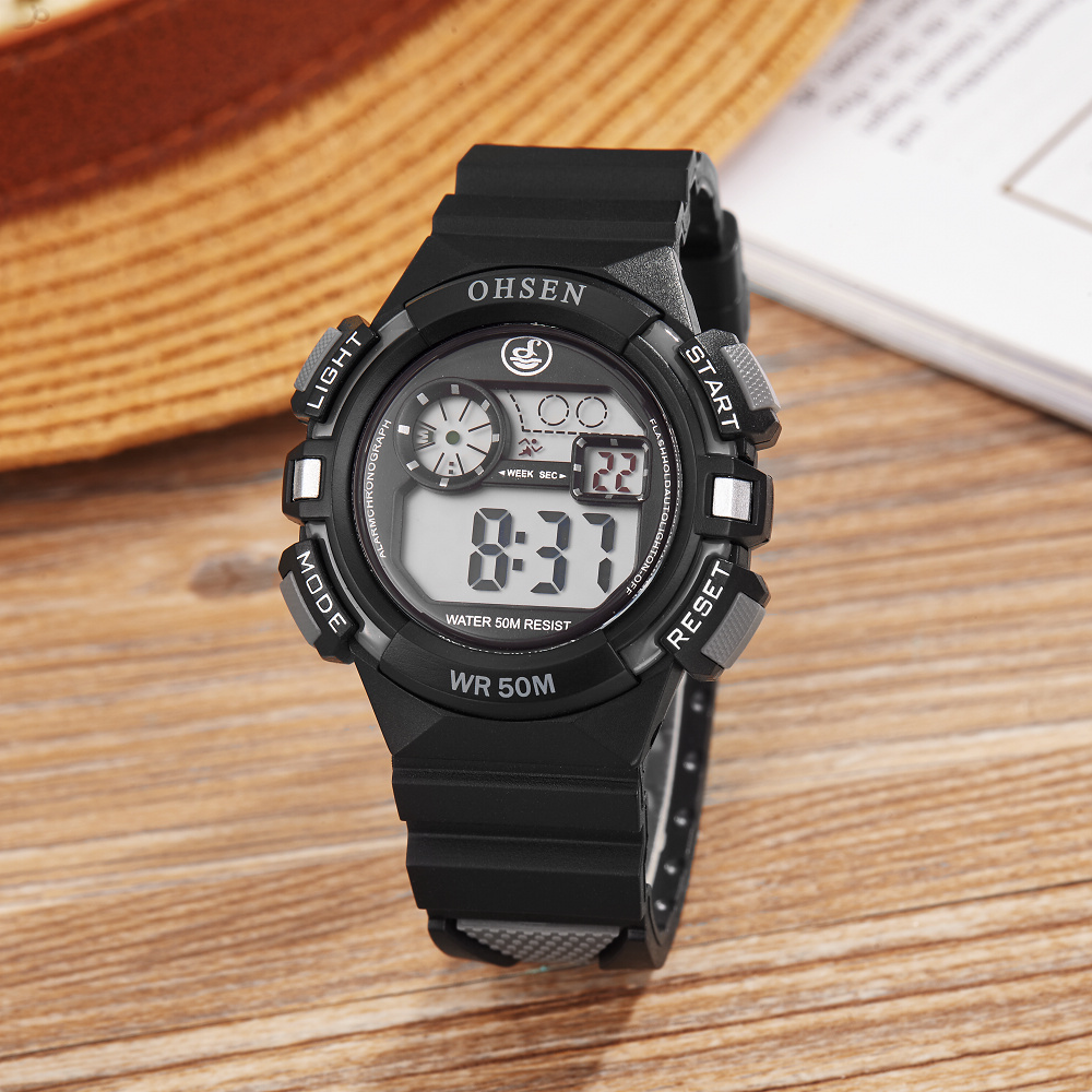 2017 NEW ARRIVAL OHSEN Fashion Boys Kids Plastic Rubber Digital Alarm Wristwatch 50M Waterproof Sports Wrist Watch El Light Gift(China (Mainland))