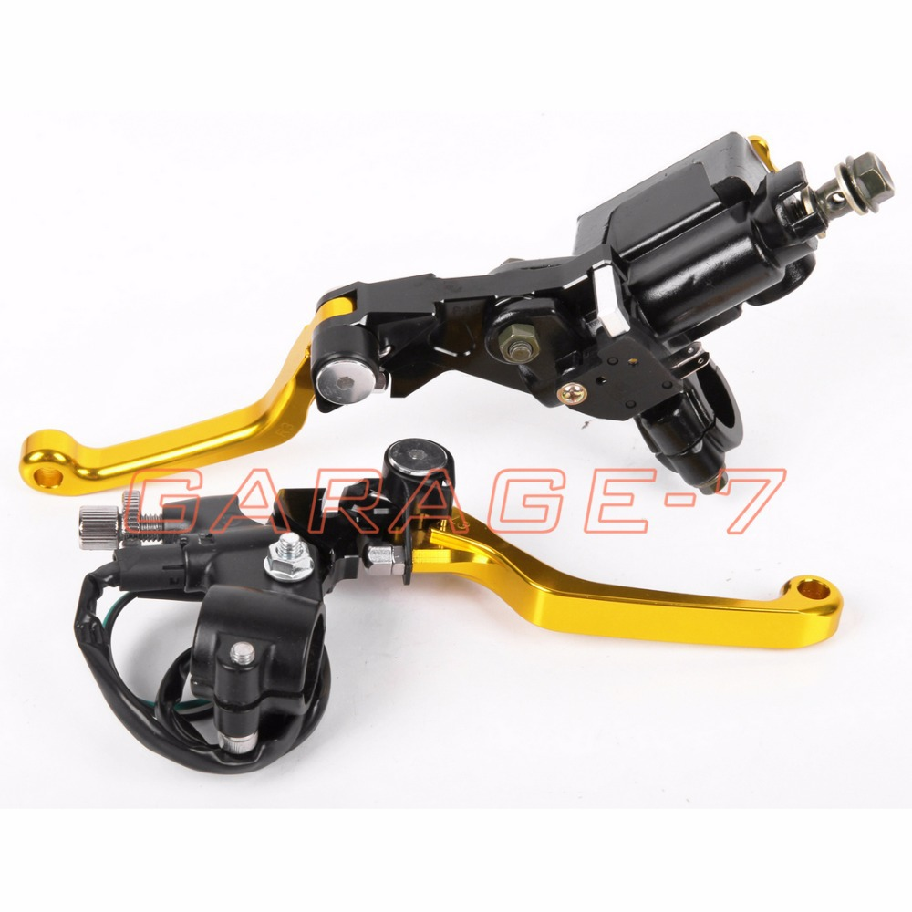 CNC 7/8 New  Brake Master Cylinder Pressure Switch Reservoir Levers Dirt Pit Bike Set Yellow For KTM  200XC/XC-W/EXC 2005-2008<br><br>Aliexpress