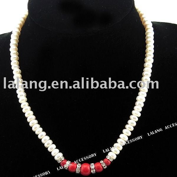 3strings/lot  Fashion Round White Pearl Beads Necklace with Red Turquoise 4*7*7mm 110436