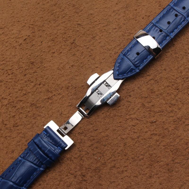 14 мм 16 мм 18 мм 20 мм 22 мм Новый Синий Крокодил Зерна Из Натуральной Кожи Ремешки Для Наручных Часов Ремешок Браслеты Золото серебряная Бабочка Пряжка Застежка
