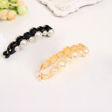 2 Types Special Orange & Black Beautiful Simulated Pearls Hairpins Hair Banana Clips Headwear Hair Accessories For Women(China (Mainland))