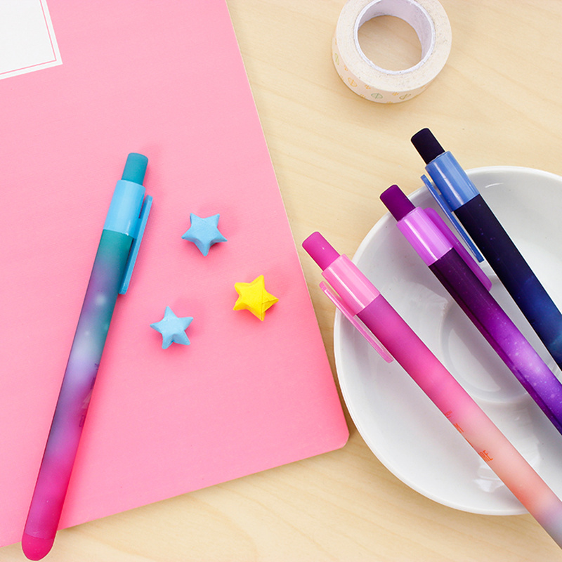 6 pcs/Lot Beautiful starry sky gel pen Star dream and explore black ink pens Stationery Office accessories School supplies 6585(China (Mainland))