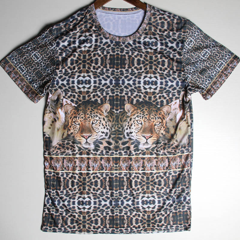 Wholesale Tops Leopard Pattern T Shirts Mens Fire and Bloods Rihanna Crew Neck Tshirt Casual Short Sleeve Cotton Tees Camisetas(China (Mainland))