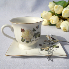 Supply Jingdezhen Ceramic Coffee Set 6 sets of bone china coffee cup and saucer spoon square