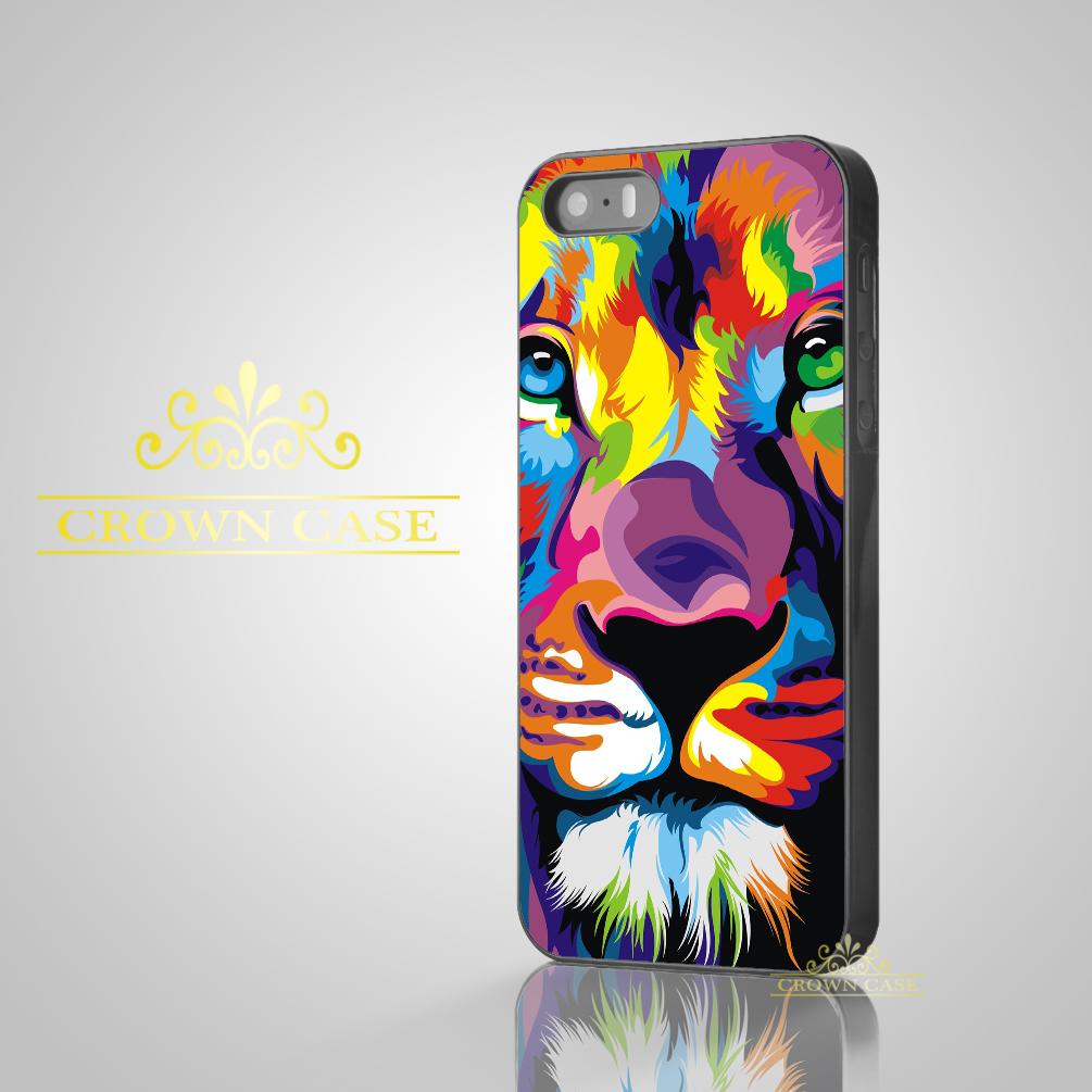Coque Colorful Lion King Oil Painting Art Case for iPhone 5S SE 5C 5 4S 4 6 6S Plus Cover for iPod Touch 5 iPod Touch 6 Case.