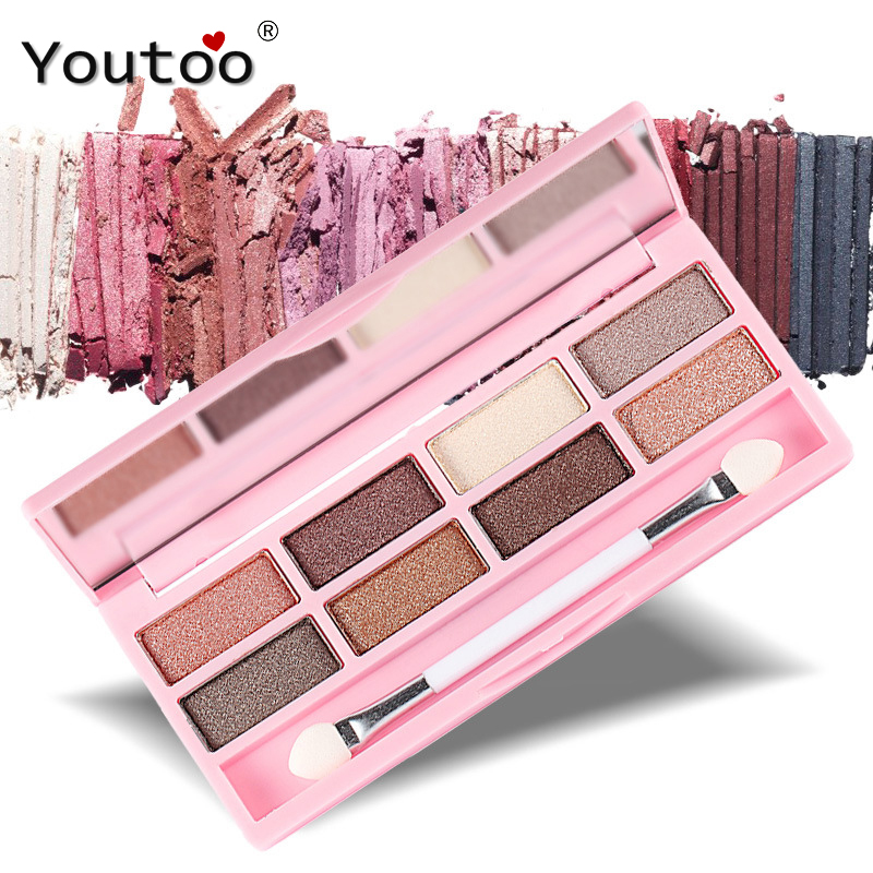 By Nanda 8 Color Eyeshadow Palette Naked Shimmer Natural Brighten Eye Shadows Makeup Sets Palette Brands Glitter Eyeshadows(China (Mainland))