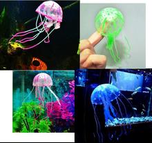 Glowing Artificial Vivid Jellyfish Silicone Fish Tank Decor Aquarium Decoration Ornament 3 months warranty Color Random HG0080R(China (Mainland))