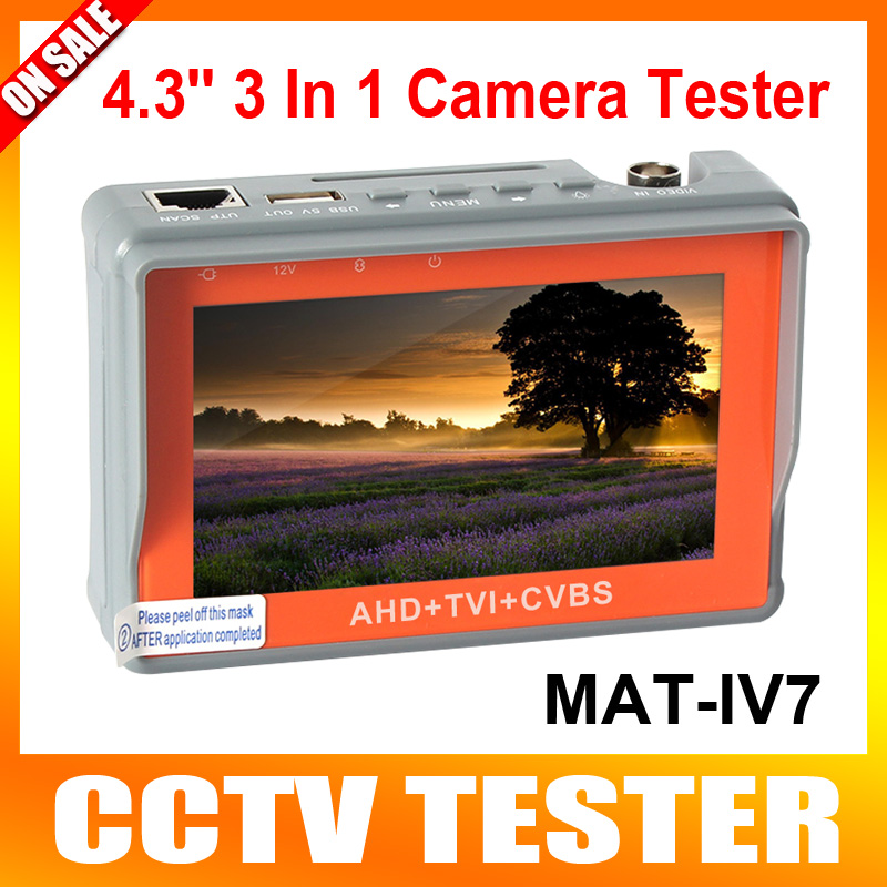 Portable 3 in 1 AHD+TVI+CVBS Camera Tester 1080P CCTV Camera Tester 4.3-Inch LCD Video Test 5V/12V Power Output Cable Test(China (Mainland))