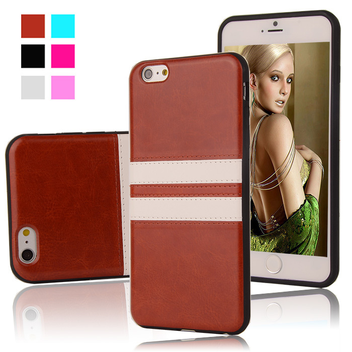 """For iPhone6 Fashion Retro 2 Stripes TPU & PU Leather Soft Case for Apple iphone 6 4.7"""" Mobile Phone Back Protective Cover Bags(China (Mainland))"""