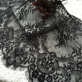 3M/ lot Eyelash Lace Fabric 45cm DIY Decorative High Quality Soft Off White Nylon Eyelash Lace Trim Wedding Dress Fabric RS646
