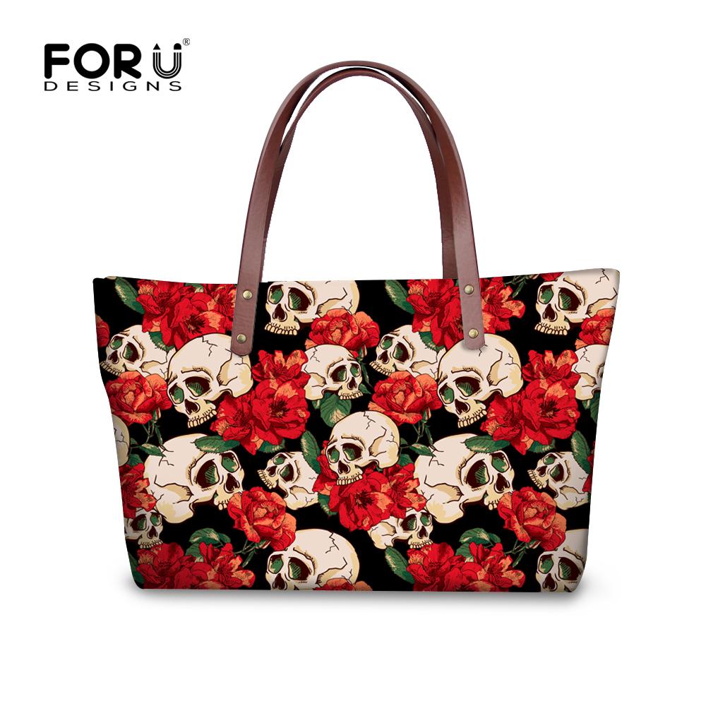 Brand Women Handbag Satchel Bags Rose Skull Printed Female Shoulder Bags Ladies Large Tote Bag Top-Handle Bag Bolsa Feminina(China (Mainland))
