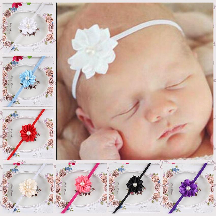 Newborn Bebe Girl Small With Flower Rhinestone Dot Baby Headband Bows Hair Band Hair Accessories(China (Mainland))