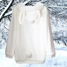 Frete Grátis 2019 Novo Casaco de Pele Falso Outerwear Coelho Com Orelhas de Urso Bonito Plus Size Solto Inverno Moletom Com Capuz Marrom hoodies(China)