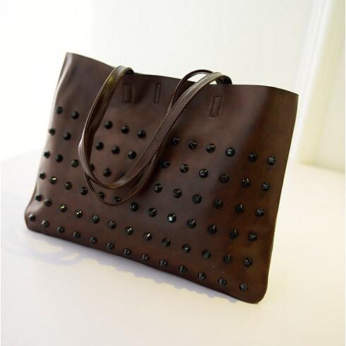 Новый стиль мода заклепки Пу женщин сумки на плечо Сумки h205