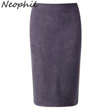 Neophil 2016 Winter Gray Army Green Women Suede Midi Pencil Skirts Causal High Waist Stretch Sexy Slim Ladies Office Saia S1009(China (Mainland))