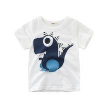 Boys & Girls karikatür t-shirt çocuk dinozor baskı T Shirt erkek çocuk yaz kısa kollu tişört pamuklu üst giyim giyim(China)
