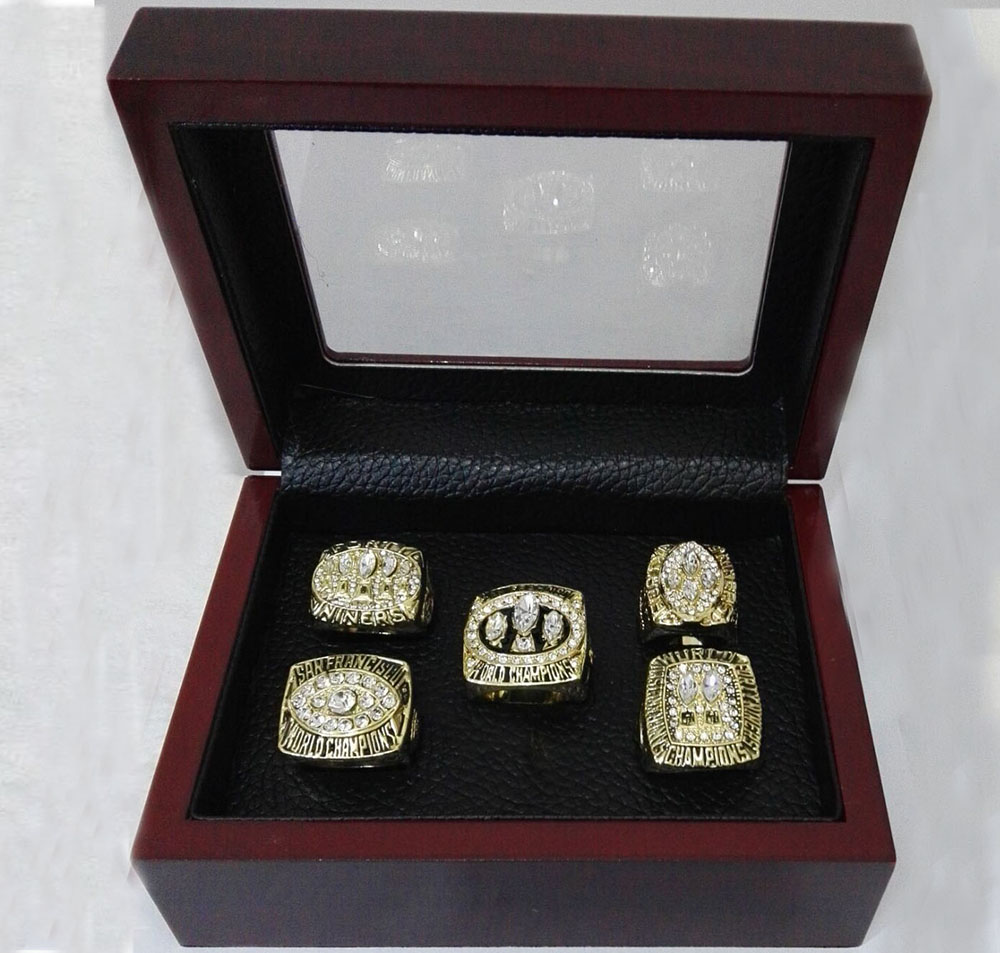 Alloy Rings Sets for Replica Super Bowl 5 Years 1981/1984/1988/1989/1994 San Francisco 49ers Championship Ring With Wooden Boxes(China (Mainland))