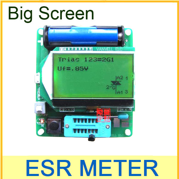 Mega328 Transistor Tester Diode Triode inductor Capacitance ESR Meter LCR LED Digital led Diode Triode MOS NPN tester meter