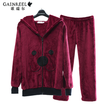 Song Riel autumn and winter flannel pajamas cute cartoon couple long sleeved tracksuit men think pregnant