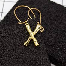 Modny list naszyjnik z wisiorkami w kształcie liter dla kobiet mężczyzn złoty kolor łańcuch początkowa Bib naszyjniki piękna biżuteria(China)