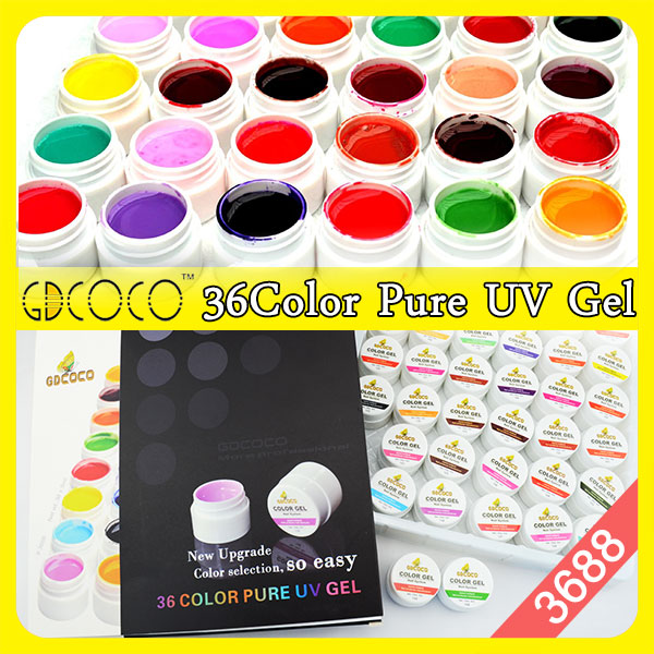 #3688 Nail Products China Supplies GDCOCO Nail Gel System 36 Pure Color Gels For Nails(China (Mainland))