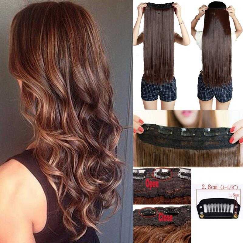 Long 29Inch 30inch fashion girl black brown blonde 5Clips Synthetic Hair 8Colors Clip In Hair Extensions USA local warehouse(China (Mainland))