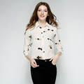 Hot Sale Lady Blouse Turn Down Collar Long Sleeve Printed Shirts Casual Office OL Loose Spring