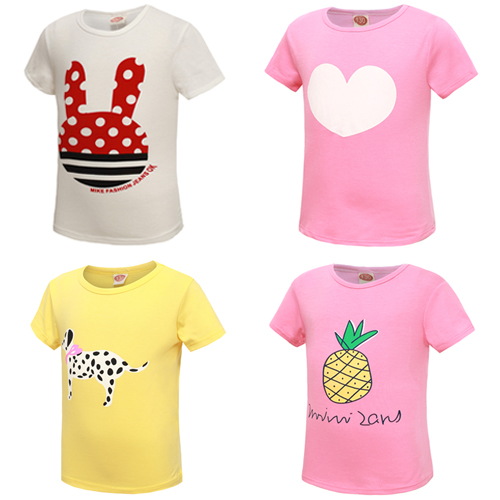 New! fashion kids baby girls t shirts childrens clothing clothes 100% cotton blouse cute cartoon summer short t shirts(China (Mainland))
