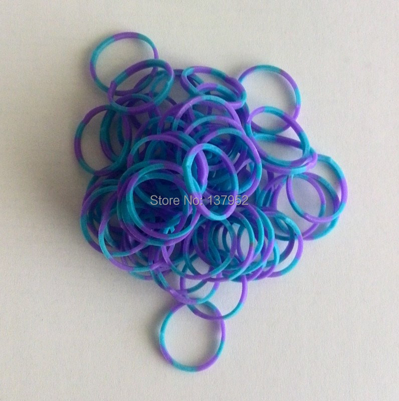 Purple/Blue Color Neon Loom Bands Twistz Bandz Loom Bands for Loom (600 pcs+24 pcs S clips)(China (Mainland))