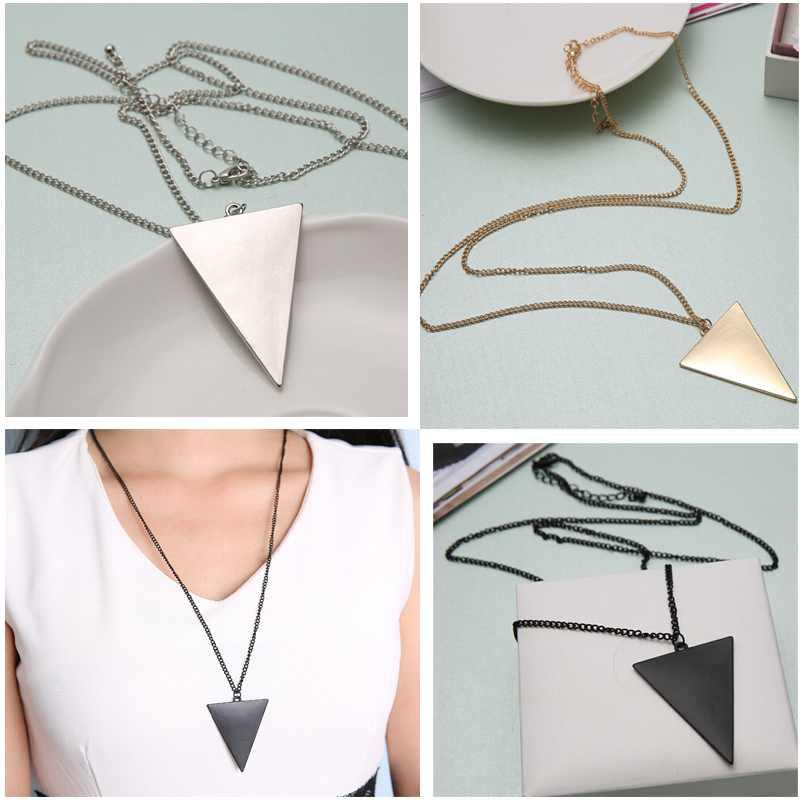1PCS Punk Jewelry Fashion Gem Triangle Retro Long Pendant Sweater Chain Necklace Hot Free Shipping(China (Mainland))