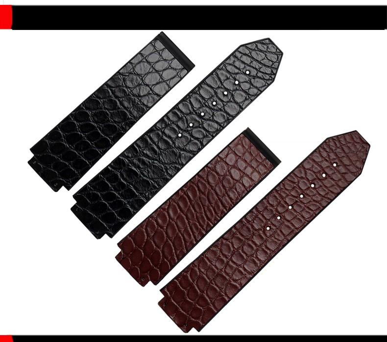 Laopijiang Крокодиловой Кожи Ремешок Для Часов пряжки складной мужской адаптер выпуклые рот 25*19 ММ часы черный и коричневый аксессуары