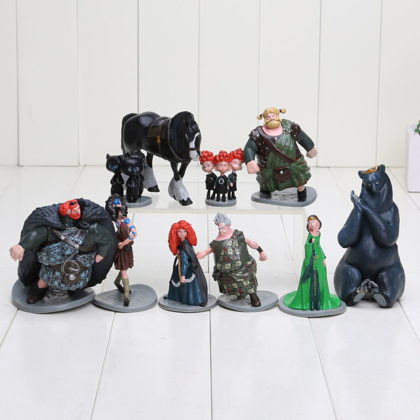 10pcs/lot Brave Toy PVC Action Figures doll/Merida/Black Bear/Collections/Children gifts(China (Mainland))