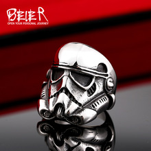 2016 NEW Star Wars storm trooper Mask ring Factory Price 316L Stainless Titanium Steel Jewelry BR8-264(China (Mainland))