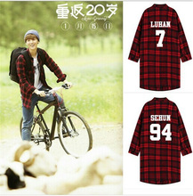EXO Kpop Kpop shirt coat boys clothes Polito BTS Bangtan V red black boxes Trench lapel loose long-sleeved plaid red sweatshirt