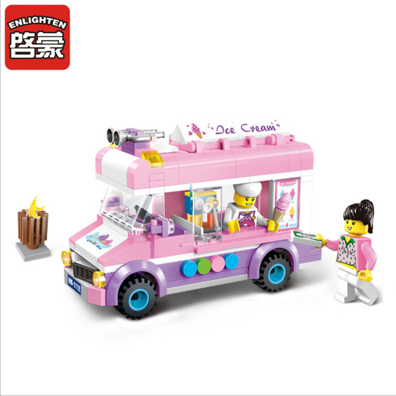 New 213pcs city Ice cream truck Compatible Enlighten Building Blocks Kids Educational Mobile ice cart Bricks Toys(China (Mainland))