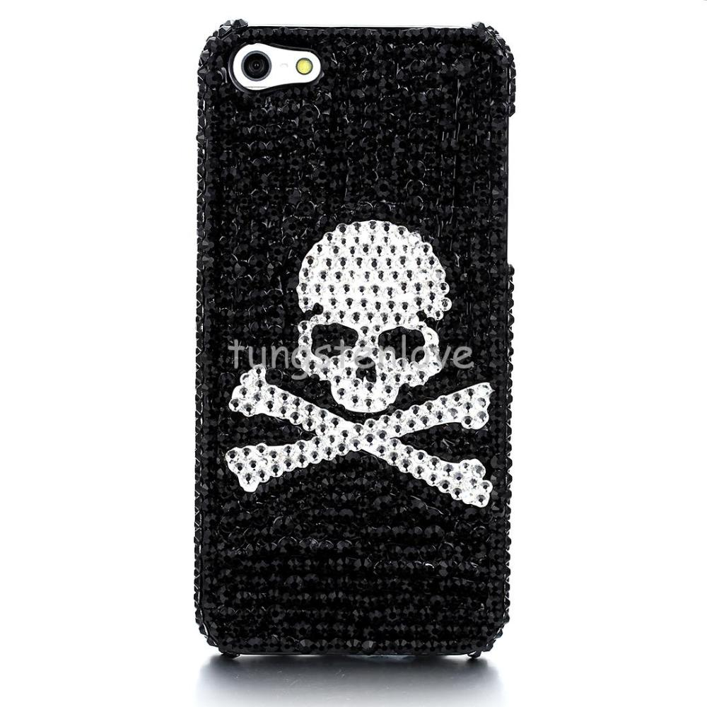Cool Skull Pattern Rhinestone Hard Mobile Phone Case Cover with Black Background For Iphone 5/5S Christmas Gift(China (Mainland))