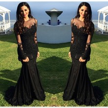 Buy 2017 Black Long Sleeve Prom Dress Appliques Body Formal Evening Gowns Dresses O Neck Sweep Train Mermaid Party Gown Grace Li for $129.20 in AliExpress store