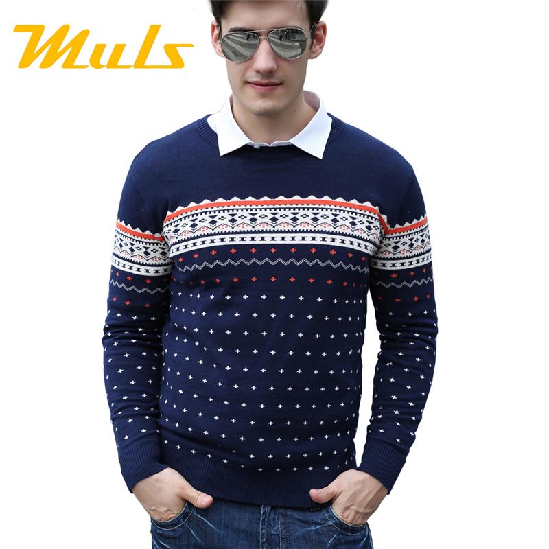 Мужские свитера и бренд мода свободного покроя поло свитер полосатый пуловер