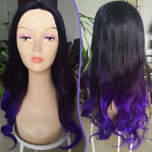 Beautiful high quality ombre lace front center part wig Long curly two tone black Purple color ombre lace wigs gradient wig
