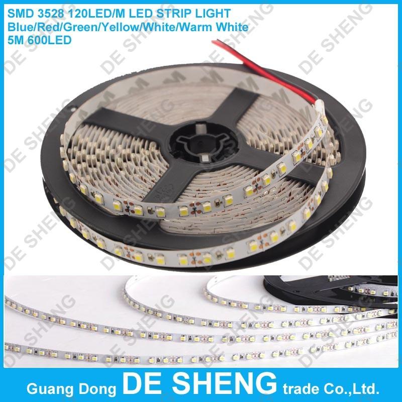 Epistar SMD 3528 120Led/m 5M 600 Led Striplight DC 12V Flexible LED Strips, light color White/Warm white/Blue/Red/Green/Yellow(China (Mainland))