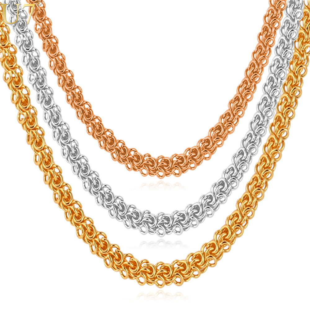 U7 Gold Stamp Jewelry 18K Real Gold Plated Hiphop Fashion Jewelry Wholesale 3 Color Round Chains Necklaces For Men N354(China (Mainland))