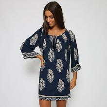 Leaf Print Dress long sleeve Women Summer Beach Dresses Printed Women plus size casual loose short dress vestidos 58