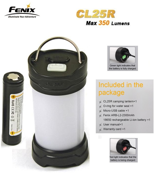 Fenix CL25R Camping Lantern 350 Lumens 2 Color 6 Mode Magnetic Base Hang Camp Lamp+Fenix18650 Li-ion Battery USB Charger Kit - passion Outdoor Lighting flashlight franchise stores store