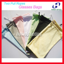 50pcs Free Shipping Quality 100% Polyester 175gsm microfiber Two Pull Ropes 7 Colors Sunglass Eyewear Glass Cloth Bag Pouch(China (Mainland))