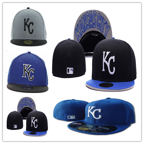 2015 New Kansas City Royals Black Color Fitted Flat Hats White KC Letter Embroidered Closed Caps Hip Hop Design Free Shipping(China (Mainland))