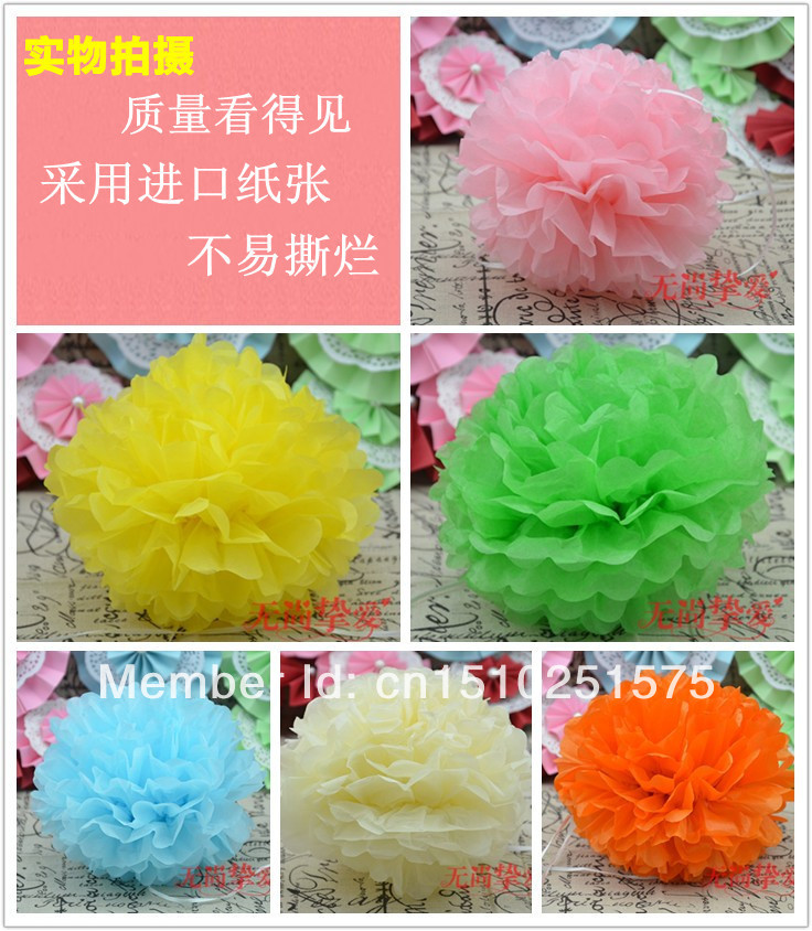"""Small order 100 X 16"""" TISSUE PAPER POM POM WEDDING PARTY ENGAGEMENT CENTERPIECE DECORATION, Good business weddings & events(China (Mainland))"""