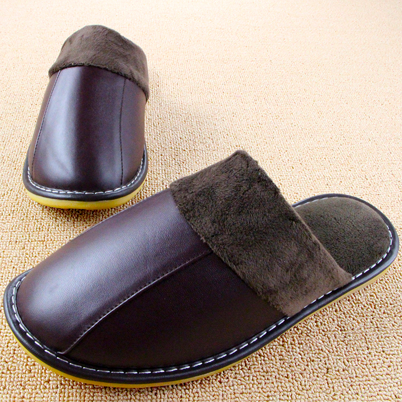 Fashion Winter Couples Home Shoes Leather Women Men Slippers Indoor Household Chinelos Plush Sewing Pantufas 6 Colors Pantoufle(China (Mainland))