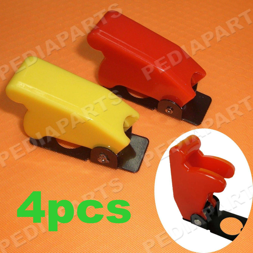 4 RED TOGGLE SWITCH FLIP SAFETY COVER GUARD GUARDS MILITARY 1/2 INCH HOLE, Free shipping(China (Mainland))
