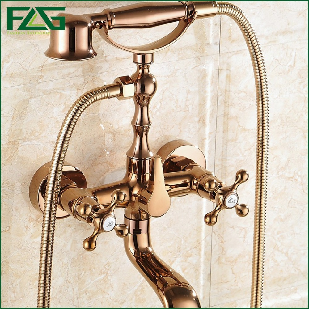 FLG Hot Sale Rose Golden Plated Wall Mounted Bathroom Shower Faucet Telephone Bath Faucets With Hand Shower Tap torneiras HS13(China (Mainland))