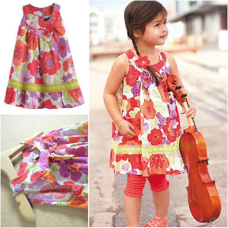 2015 Summer Style Casual Girl Dress Sleeveless Floral Children Clothing Flower Girls Dresses(China (Mainland))
